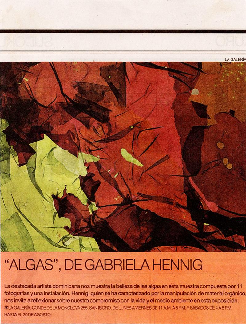 Algas de Gabriela Hennig - Nota de prensa difundida en el Diario El Comercio de Lima, Perú. 11-08-2011