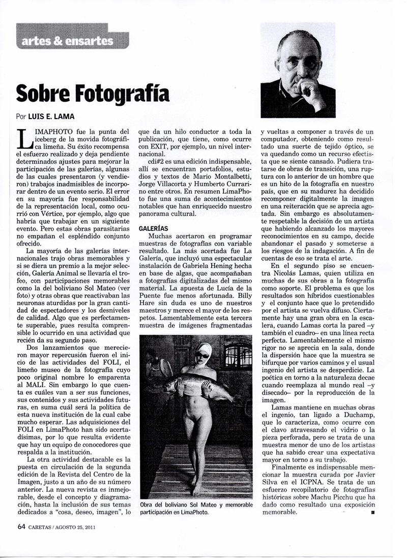 """Algas y ensartes """"Sobre Fotografía"""" - Luis Lama escribe sobre Gabriela Hennig y su Exhibición Algas en Caretas - 2011"""