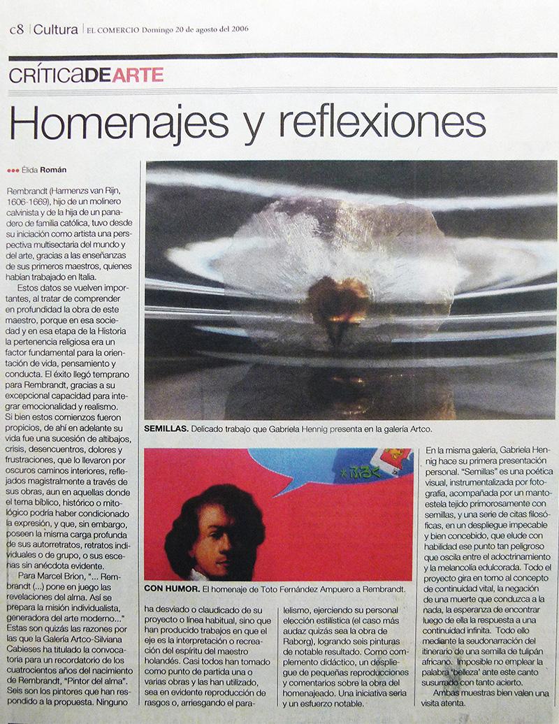 Homenajes y reflexiones - Elida Román Crítica de arte menciona la Exhibición Semillas en un artículo de El Comercio