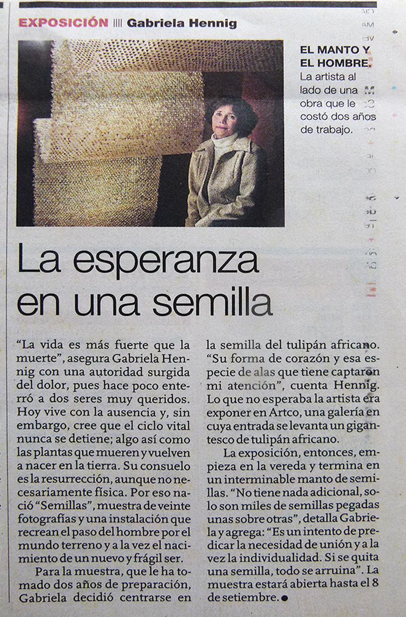 La esperanza en una semilla - Artículo de El Comercio con ocasión de la Exhibición Semillas de Gabriela Hennig