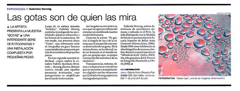 Las gotas son de quien las mira - Artículo del Diario El Comercio sobre la Exhibición Gotas de Gabriela Hennig